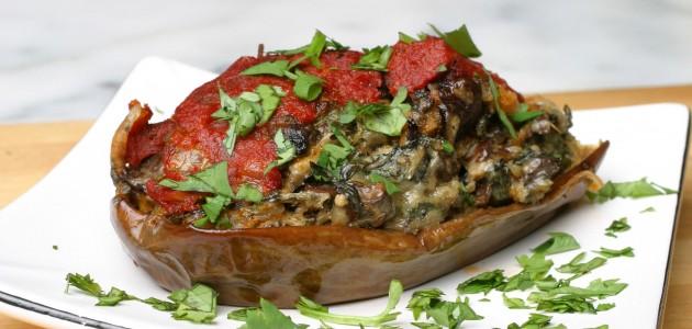 Итальянская кухня. Рецепт: Баклажаны, фаршированные грибами (фото)
