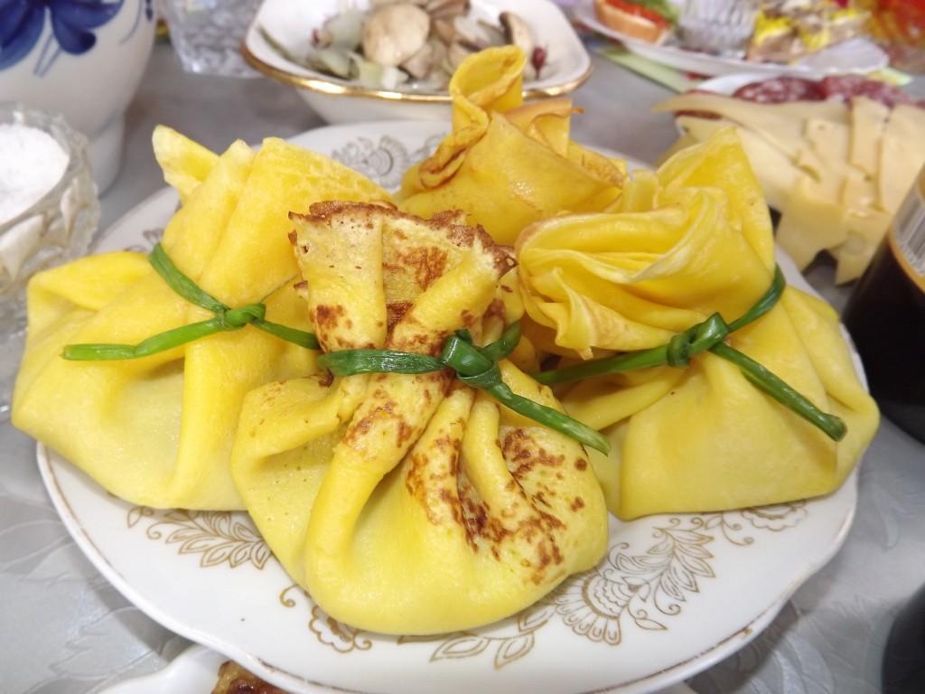 Вкусные блинные мешочки на праздничный стол